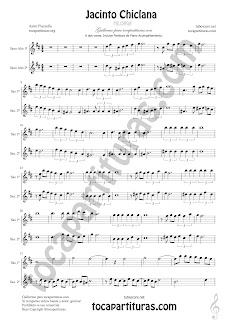 Saxofón Alto y Sax Barítono Partitura a dos voces de Jacinto Chiclana Sheet Music for Alto and Baritone Saxophone Music Scores