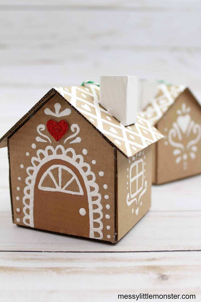 cardboard gingerbread house ornament for kids