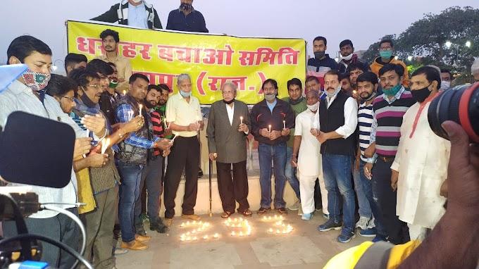जयपुर स्थापना दिवस--  छोटी चौपड़ पर जलाए 1000 दीपक, केक काटा