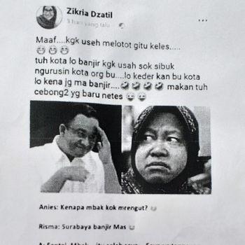 Ini Postingan Netizen yang Dilaporkan Hina Wali Kota Risma