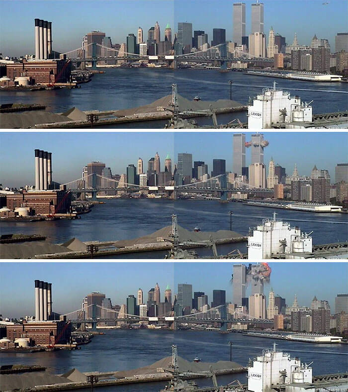 18 Rare Historical 9/11 Photos That You Most Possibly Haven't Seen Before - American Airlines Flight 11 (Visible In The Upper Right-Hand Corner Of The Photo) Approaches The North Tower Of The World Trade Center On September 11, 2001