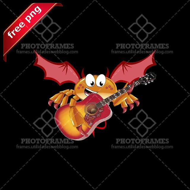 Cangrejo diablillo con guitarra acústica en png con fondo transparente