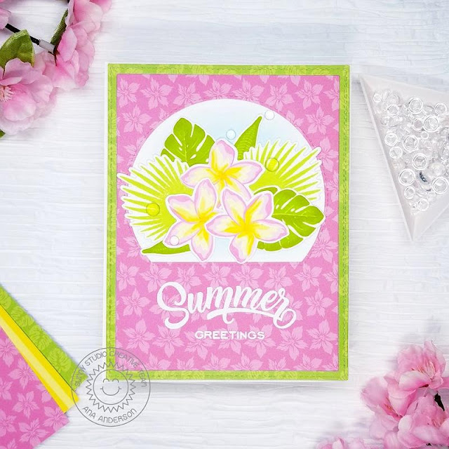 Sunny Studio Stamps: Radiant Plumeria Stitched Semi Circle Dies Summer Themed Card by Ana Anderson