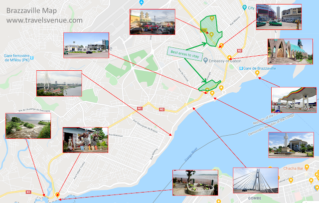 Map of Brazzaville for Sightseeing