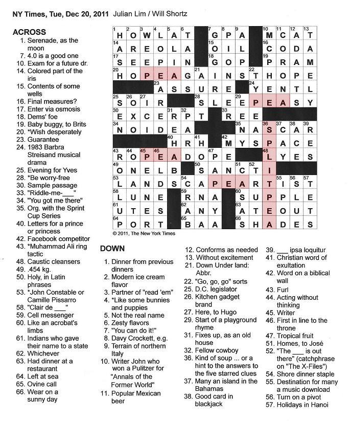 The New York Times Crossword in Gothic: 12.20.11 — Split Peas