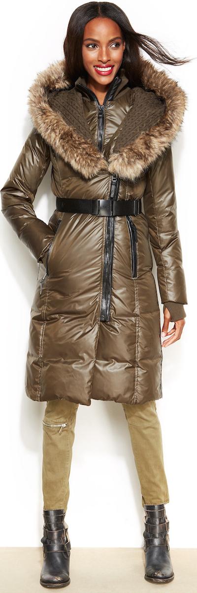 RUDSAK Faux fur trim belted puffer down coat