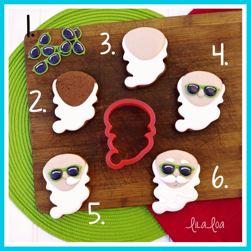 Santa Claus in summer sugar cookie decorating tutorial