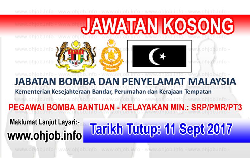 Jawatan Kerja Kosong Jabatan Bomba Dan Penyelamat Negeri Terengganu logo www.ohjob.info september 2017