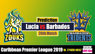 Who will win Today CPL T20 2019 26th Match Lucia Zouks vs Barbados