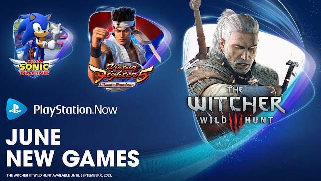playstation now the witcher 3 wild hunt virtua fighter 5 ultimate showdown sonic the hedgehog 30th anniversary sonic forces sonic mania team sonic racing car mechanic simulator slay the spire pc ps4 ps5 lineup june 2021 sony