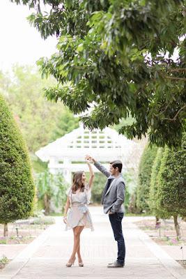 couple dancing in garden