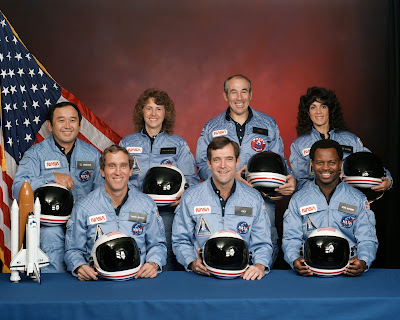 Francis R. Scobee, Commander Michael J. Smith, Pilot Ronald McNair, Mission Specialist Ellison Onizuka, Mission Specialist Judith Resnik, Mission Specialist Gregory Jarvis, Payload Specialist Christa McAuliffe, Payload Specialist, Teacher