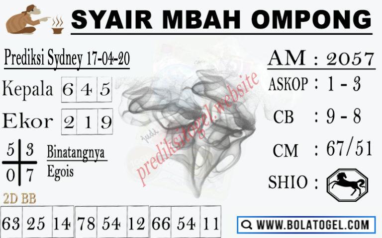 Prediksi Sidney 16 April 2020 - Syair Mbah Ompong