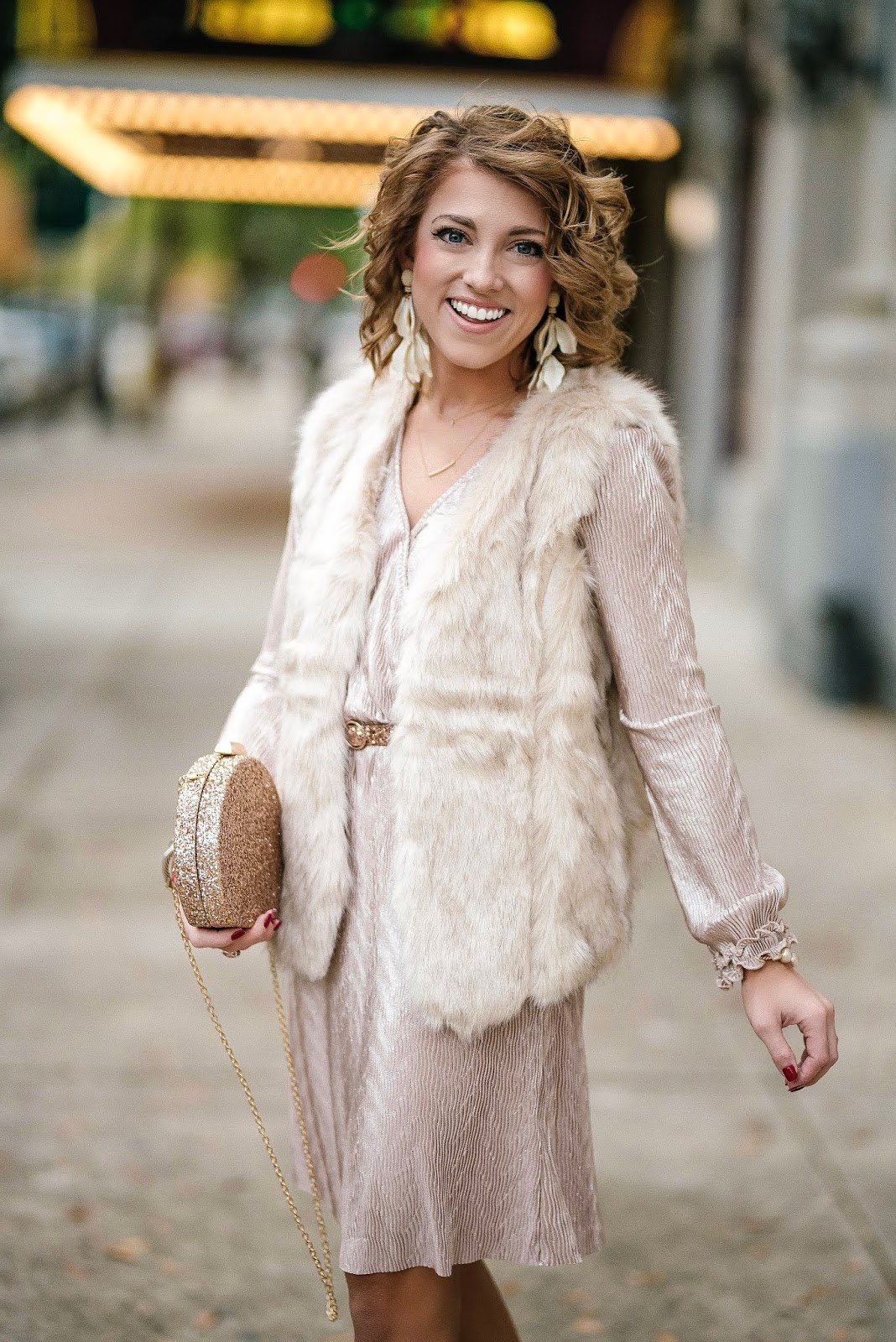 Pink Pleated Dress, Faux Fur Vest and Glitter Accessories - Something Delightful Blog