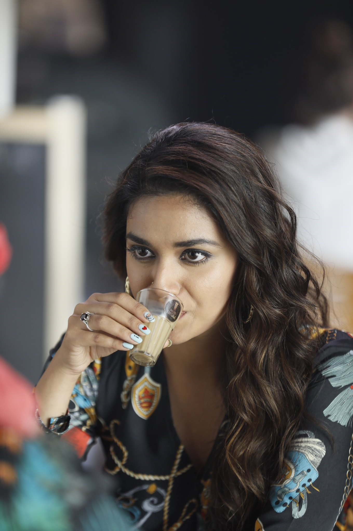 Keerthy Suresh Awesome Lovely Expressions While Drinking Tea