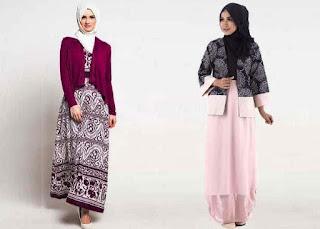 Gamis-Batik-Kombinasi-Blazer