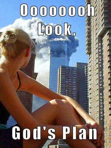 God's Plan - Girl looking at 9/11 crash picture