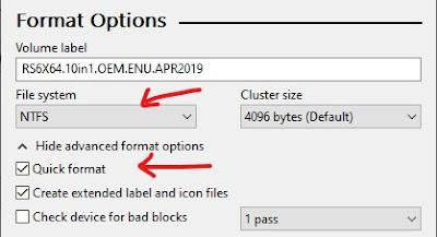 rufus format options