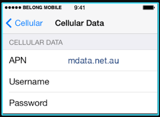 New Belong Mobile apn settings iPhone