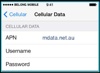 New Belong Mobile apn settings iPhone