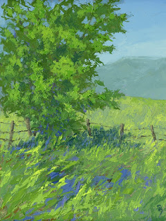painting landscape spring green palette knife nature tree field