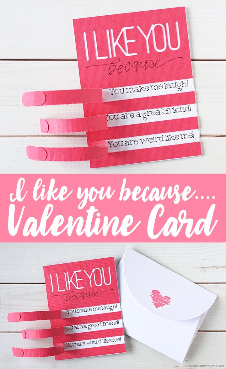 I Like You Because...Valentine Card