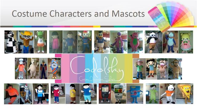Kostum Badut Maskot karakter atau baju boneka untuk event pameran, promosi dll