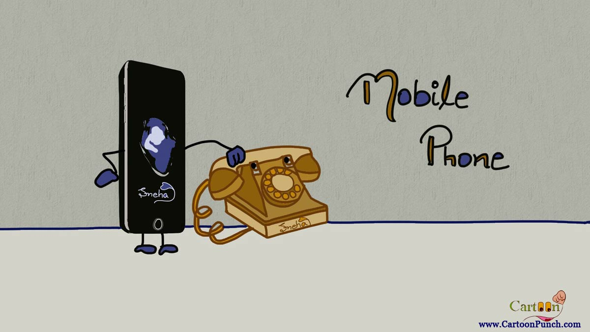 Mobile Phone cartoon illustration by Sneha: mobile about to call on basic landline phone