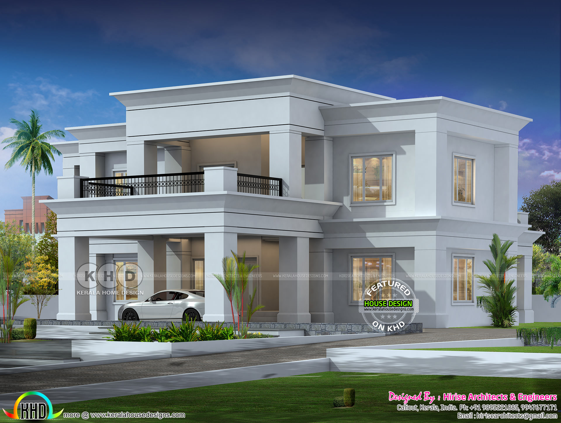 Colonial Type Flat Roof House Architecture Kerala Home Design And Floor Plans 8000 Houses