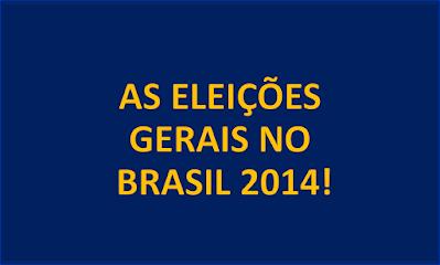 A imagem de fundo azul e caracteres nas cores amarela. Está inscritos eleições gerais no Brasil 2014!