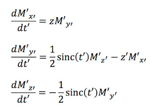 The Bloch equations in a rotating coordinate system, averaged over time, in terms of dimensionless variables, when describing the magnetization during slice selection in magnetic resonance imaging.