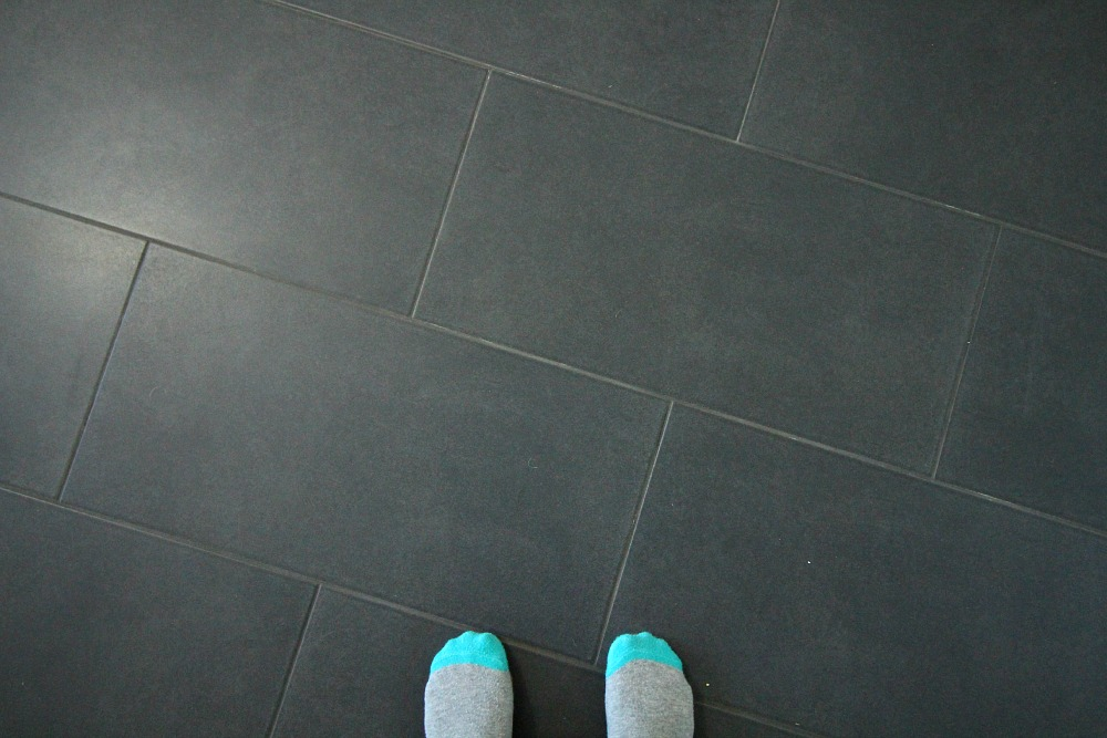 Large grey floor tile