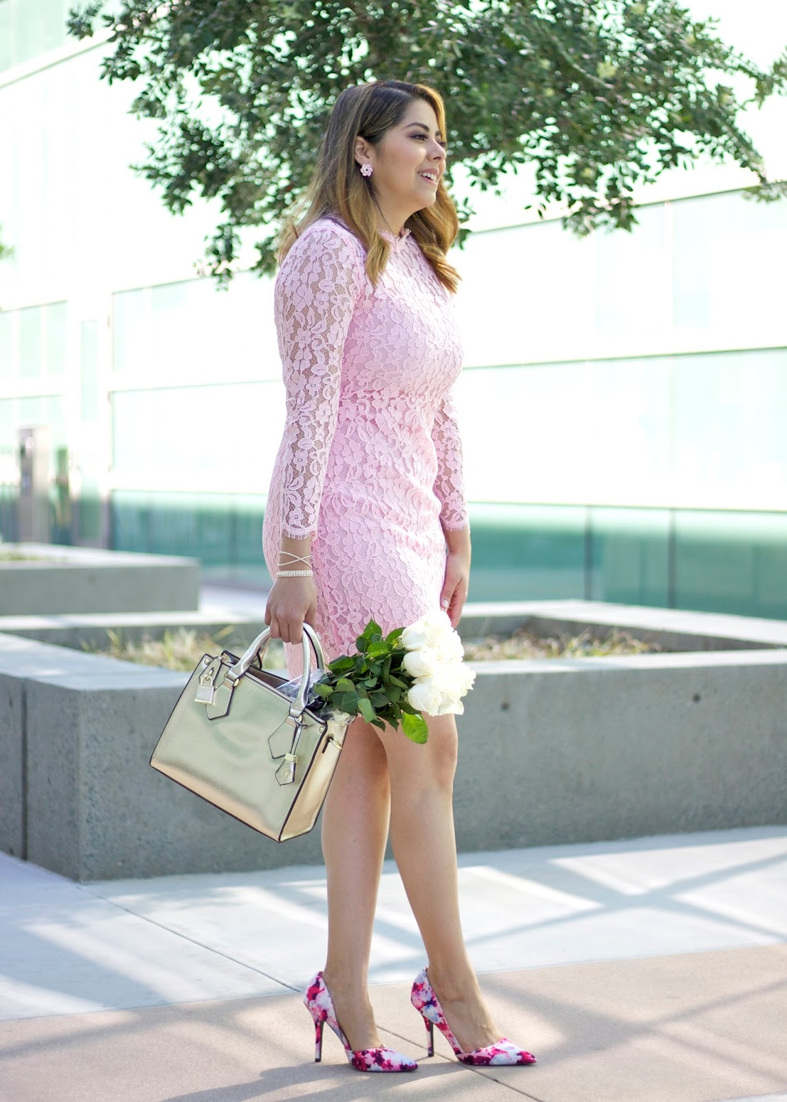 Chicwish pink lace dress, engagement picture outfit, pink lace fitted dress, gold structured hangbag