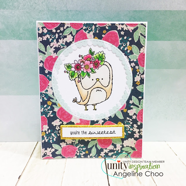 ScrappyScrappy: Springtime Owl with Unity Stamp #scrappyscrappy #unitystampco #katscrappiness #ginamariedesign #diecut #owl #springtimeowl #springtime #papercraft #card #cardmaking #stamp #stamping #copic #coloring  #sotw