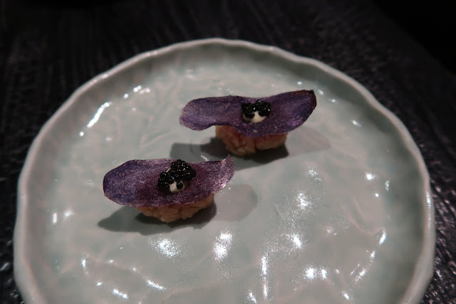 Hayes Valley's Robin serves unique nigiri, including this caviar atop a taro chip, rested above a bed of rice.