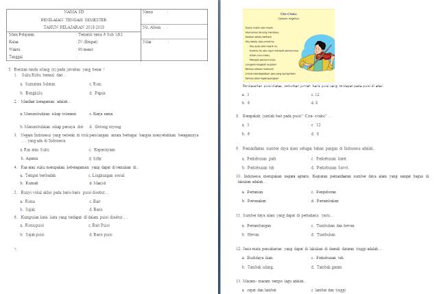 Soal UTS/PTS Kelas 4 SD/MI: Tema 6 Subtema 1-2
