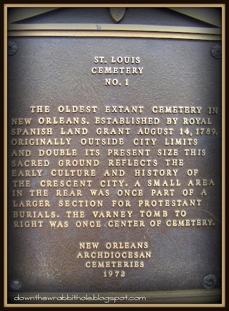 New Orleans cemetery, cemetery plaque