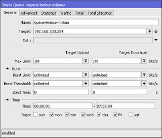 Melimit Bandwidth Berdasarkan Waktu di Mikrotik