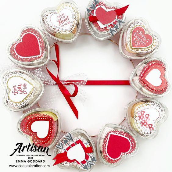 couronne de St-Valentin avec La collection Du fond du coeur Stampin' Up! mini catalogue 2020