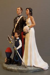 cake topper bambino sposo carabiniere divisa bimbo sposini per torta orme magiche