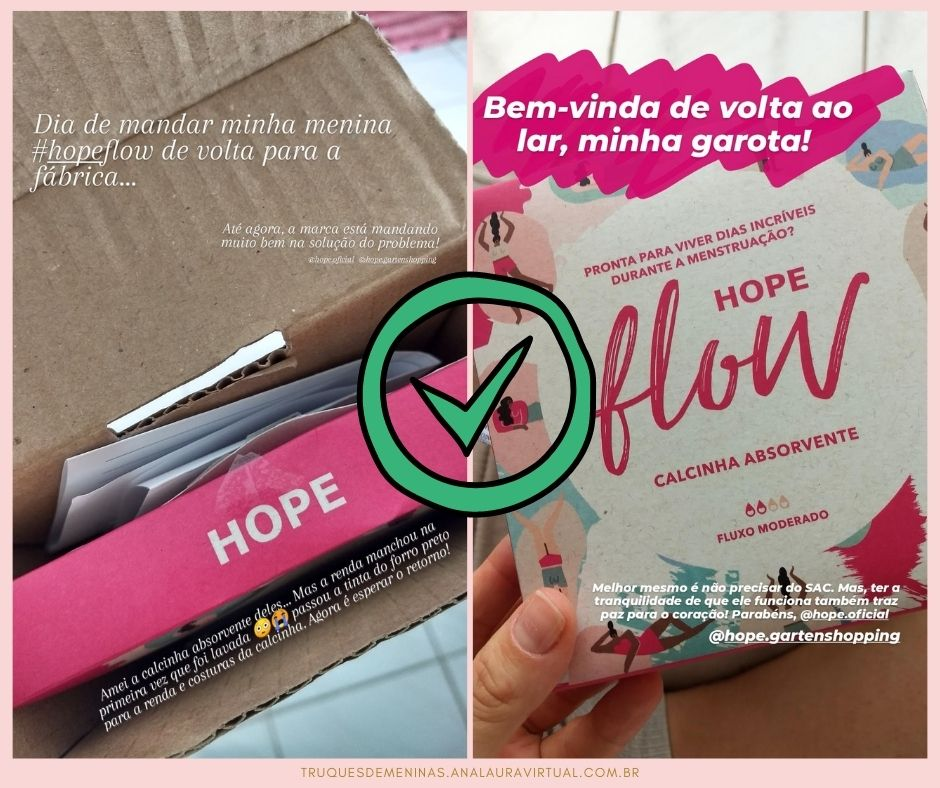 calcinha hope flow sac cor manchou mas resolveram