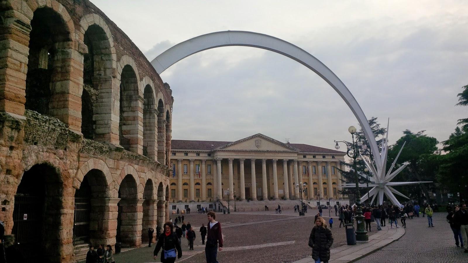 Arena di Verona with the huge Christmas star