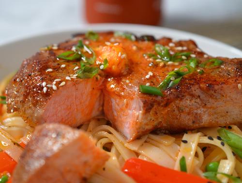 Gochujang pork chops with noodle stir fry