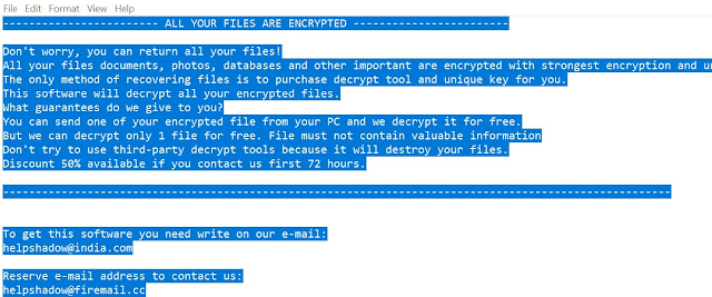 Helpshadow@india.com DJVU (Ransomware)