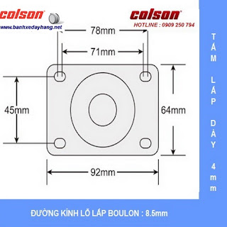 Kích thước Bánh xe PA phi 100 không xoay càng inox 304 Colson Mỹ | 2-4408-254 sử dụng ổ nhựa