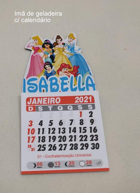 Imã de Geladeira com Calendário As Princesas  Disney dicas e ideias para decoração de festa personalizados