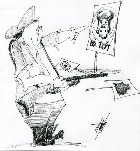 Biếm họa săn bắn, khai thác rừng trái phép