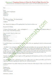 sample complaint letter to police for theft of bicycle bike car