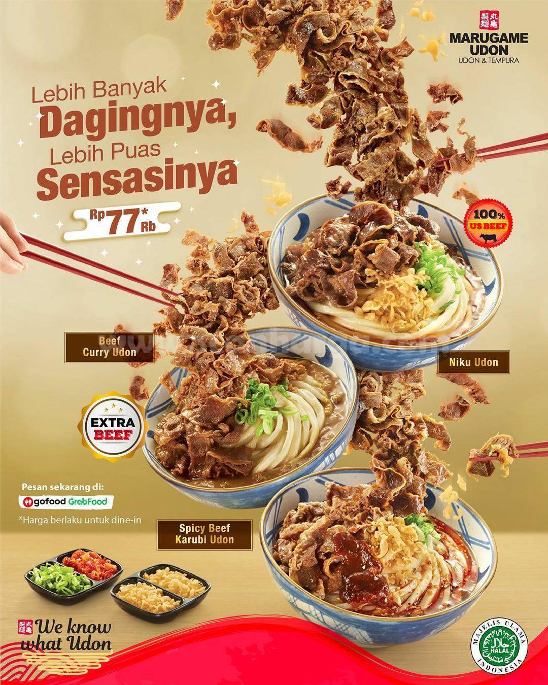 Marugame Udon Menu Extra 100% Us Sukiyaki Beef harga hanya Rp 77.000*