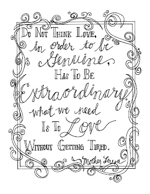 Look to Him and be Radiant: Mother Teresa Quote Coloring Pages